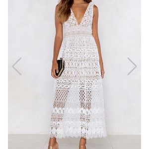 WHITE LACE MIDI DRESS: NEVER WORN WITH TAGS.